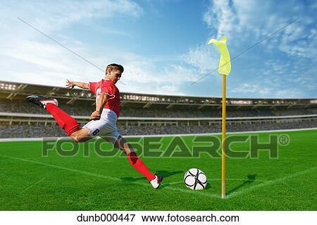 图片 - 英式足球表演者, 拿, 角踢 dunb000447 -