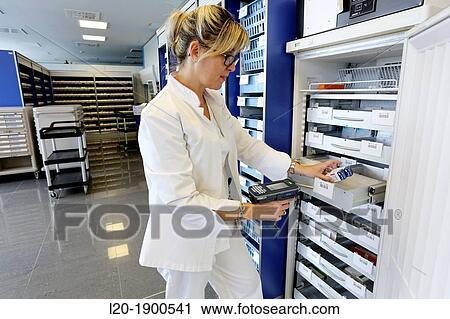 Stock Photography Barcode Reading Chaotic Storage Pharmacy Onkologikoa Hospital Oncology Insute