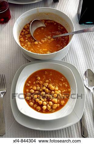 Stock photo of garbanzos con bacalao men alimentaci n - Potaje de garbanzos con bacalao ...