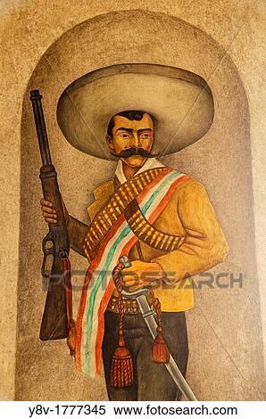 Stock image of mexico morelos cuernavaca emiliano for Emiliano zapata mural