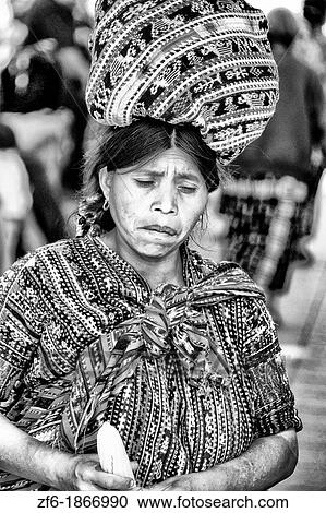 Colorful Print Patterned Clothes Of The Women In Famous Market Day Color Highlands Village Solola Guatemala Cover Type Vertical Image