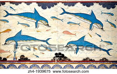 Stock image of knossos crete greece minoan for Dolphin mural knossos
