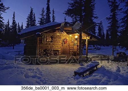 Colecci n de foto alaska interior apunte caba a bosque invierno p rtico luz nieve cielo - Cabana invierno ...