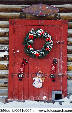 Red Barn Door Clip Art stock photo of holiday wreath hanging on red barn door w/ & w/o