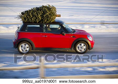 Stock Photography Of Mini Cooper Sports Car With Christmas