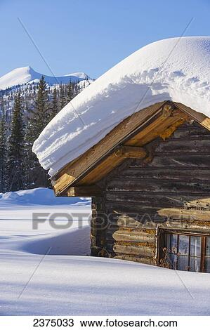 Stock Photo Of Snow Load On A Log Cabin Roof In Wiseman