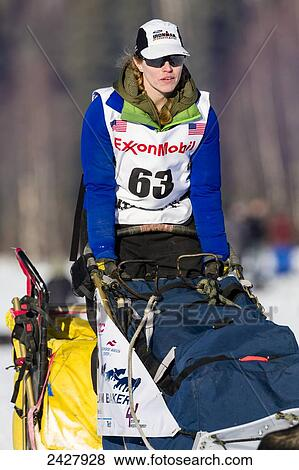 Katherine Keith competing in the 42nd Iditarod Trail Sled Dog Race ...