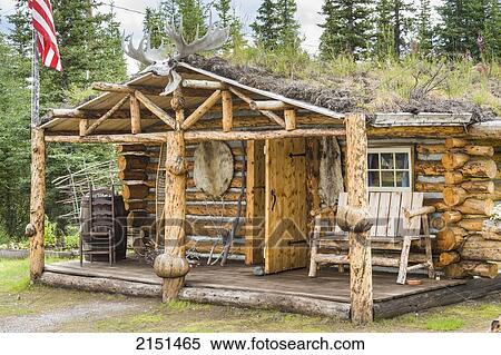 Stock Image Of Rustic Log Cabin Near Glennallen Alaska In Summer