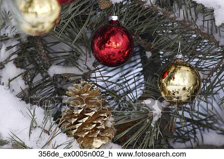 Stock Photo Of Close Up Of Christmas Ornaments W Pine Cone