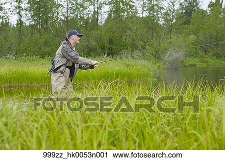 Stock photography of man fly fishing for king salmon in a for Backcountry fly fishing