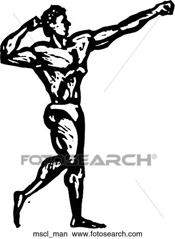 clipart of muscle man mscl man search clip art illustration rh fotosearch com Muscle Man Holding Books Clip Art Clip Art Man with Muscle Shirt
