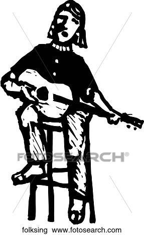 Clipart of Folk Singer folksing - Search Clip Art, Illustration ...
