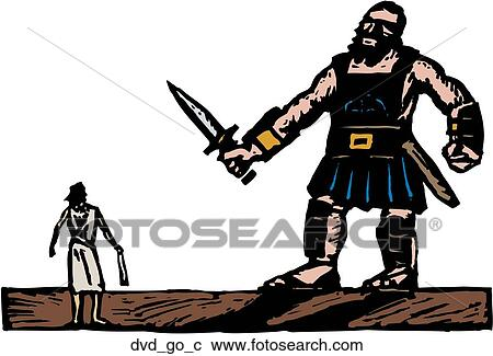 clipart of david and goliath dvd go c search clip art rh fotosearch com David and Goliath Illustration David and Goliath Sculpture