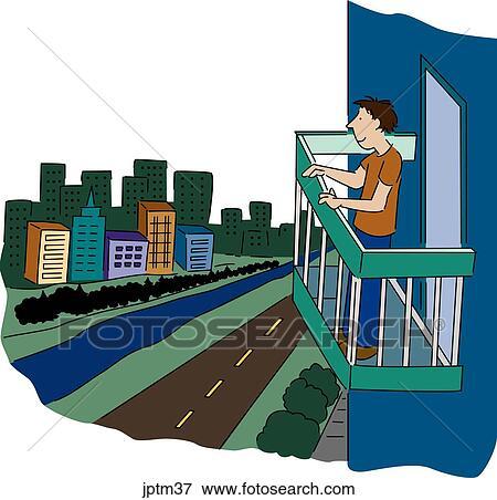 Stock illustration of balcony jptm37 search eps clipart for Balcony clipart