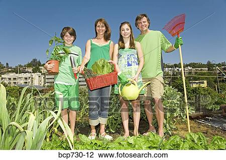 Family Garden Clipart Family in Vegetable Garden