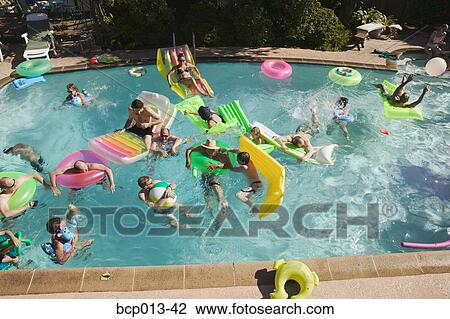 Stock Photo Of Overhead View Of A Pool Party Bcp013 42
