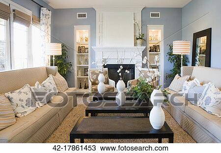 stock photo of blue and beige living room 42 17861453