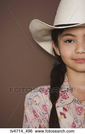 Stock Images Of Studio Shot Of Young Girl Wearing Cowboy