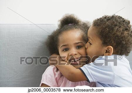 n, 男孩, 亲吻, sister s, 面颊