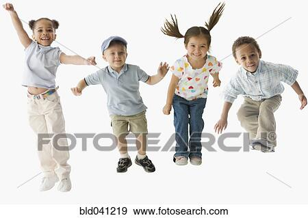 stock photograph of multi-ethnic children jumping bld041219 - search