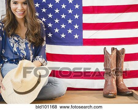 images femme hispanique tenue chapeau cowboy et. Black Bedroom Furniture Sets. Home Design Ideas
