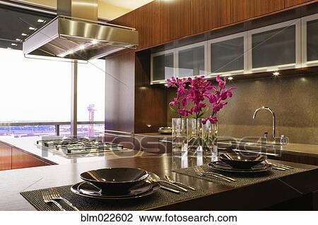 Stockfoto   luksus, køkken blm022602   søg i stockfotografering ...