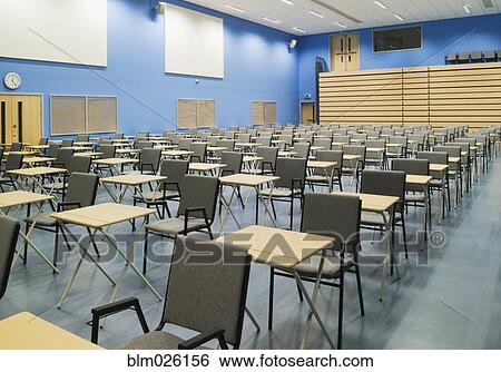 Stock Image The Main Hall Of A Modern Secondary School Set Out For Exams With