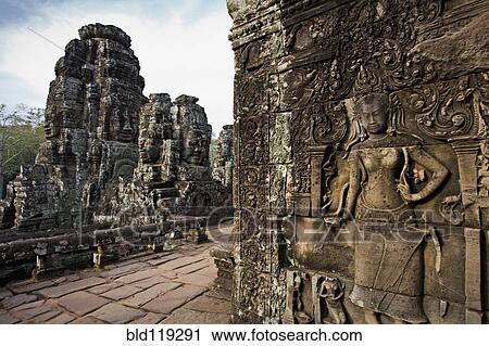 Archivio fotografico   ornare, pietra, intagli, su, pareti, angkor ...
