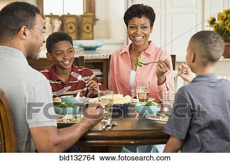 Black Family Eating Dinner Together