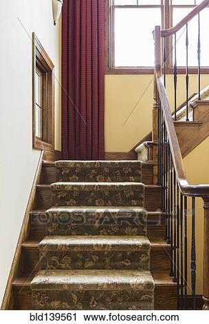 stock fotografie teppich belegtes treppenhaus und. Black Bedroom Furniture Sets. Home Design Ideas