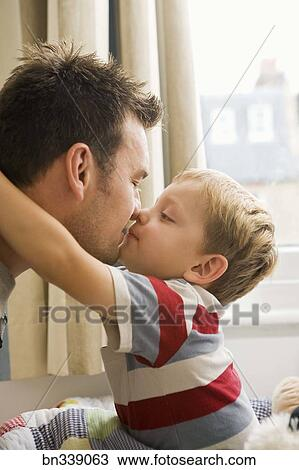Stock Photo Of Son And Father Kissing Bn339063 Search