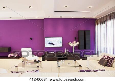 Stock Foto - lila, wand, in, luxus, wohnzimmer 412-00634 - Suche Stockbilder, Wandbilder, Bilder ...