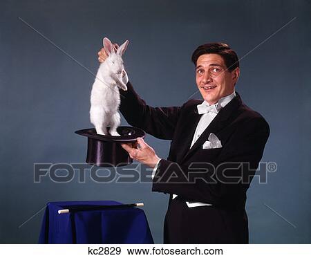 蓝的背景, 拉, 兔子, 在外, 在中, 最高帽子, 诡计, 魔术, 幻想, 手