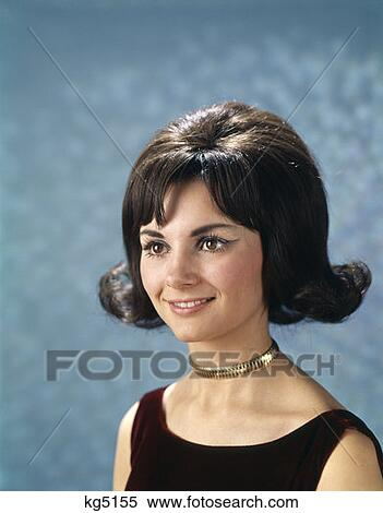 1960S Portrait Of Young Woman Wearing Gold Choke Collar And Sleeveless ...: www.fotosearch.com/CLT001/kg5155