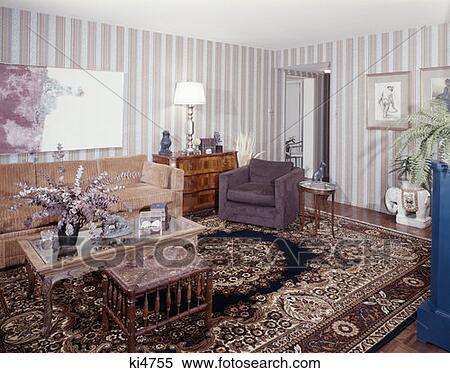 stock bild 1970 1970s wohnzimmer orientalische. Black Bedroom Furniture Sets. Home Design Ideas