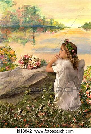 Stock photo of girl wearing white dress with angel wings for Praying angel plant