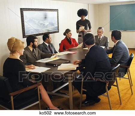 Stock Photo Of 1970s 8 People Men Women Conference Room