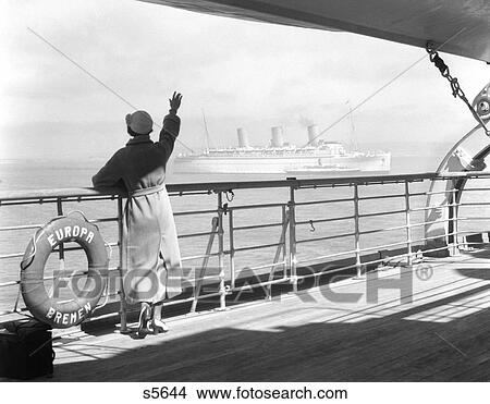 Stock Photo Of S Back Of Woman At Rail Of Cruise Ship Ss - 1930s cruise ships