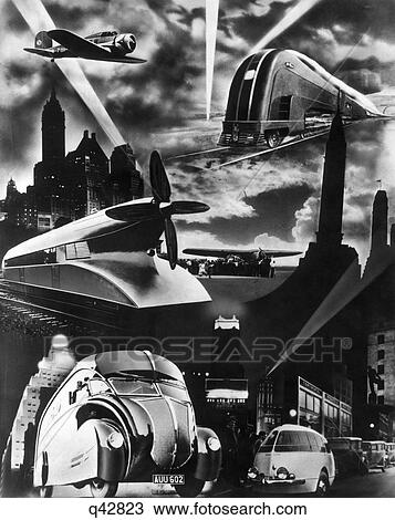 banque de photo 1930s futuriste art decco optimiser conception modes transport voiture. Black Bedroom Furniture Sets. Home Design Ideas
