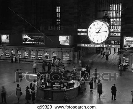 Stock Photograph Of 1959 1950s Retro Grand Central Station