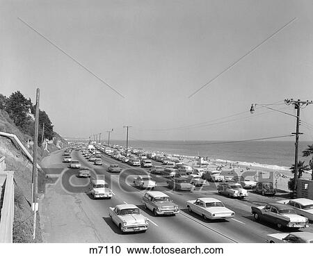 Stock photography of 1950s 1960s highway traffic cars for Malibu motors santa monica