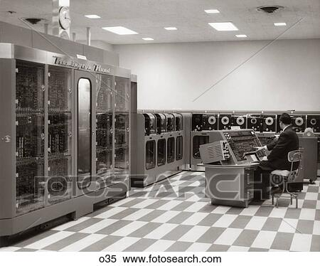 Stock Image Of 1950s Computer Room With Univac O35
