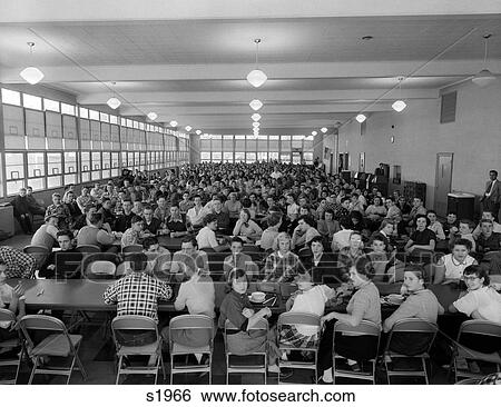 Stock Images of 1950S Crowded High School Cafeteria s1966 ...