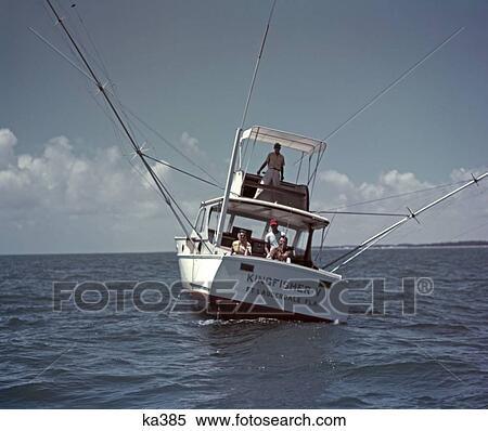 Stock image of 1960 1960s retro deep sea fishing boat men for Deep sea fishing fort lauderdale