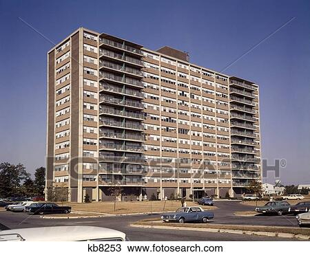 Stock photo of 1960s architecture high rise apartment for Architecture 1960