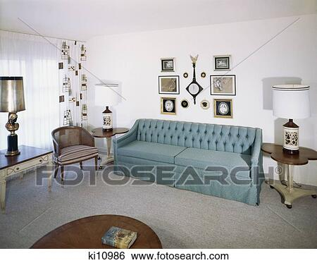stock image interior couch sofa chair decorations curtains lamps retro 1950 1950s 1960s home decor