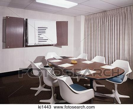 Stock Photo of 1960S Office Conference Room Plastic Molded Chairs ...
