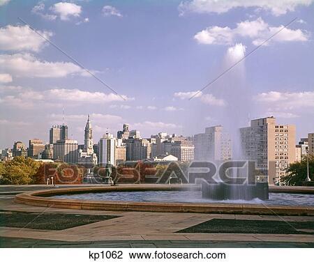 Stock Photo Of 1960s Day Philadelphia Skyline Art Museum