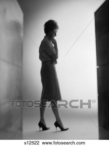Silhouette Of Woman Profile Hand To Chin Pensive Mysterious High Heels Shadow Light Sad Depression Worry 1960S Retro Vintage