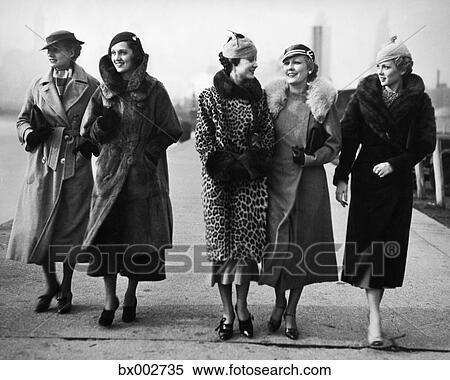 Stock Image of 1930s five women walking wearing winter fur ...